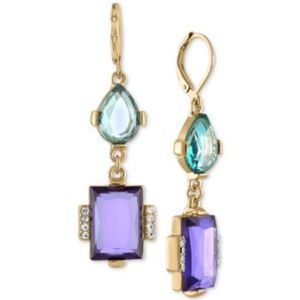RACHEL ROY Double Stone Drop Earring Crystal Party